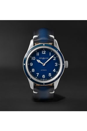 Mont Blanc Herren Uhren - 1858 Automatic 40mm Stainless Steel and Leather Watch, Ref. No. 126758