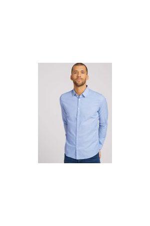 TOM TAILOR Herren Lange Ärmel - Slim Fit Hemd mit Struktur, Herren, light blue white structure, Größe: XL