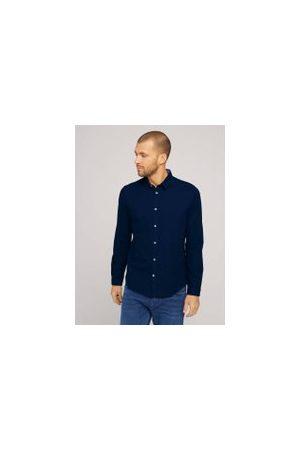 TOM TAILOR Herren Lange Ärmel - Slim Fit Hemd mit Struktur, Herren, Dark Blue, Größe: XL