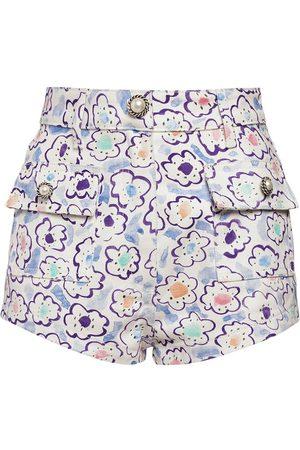 Alessandra Rich Damen Shorts - Shorts Aus Baumwollgabardine Mit Blumendruck