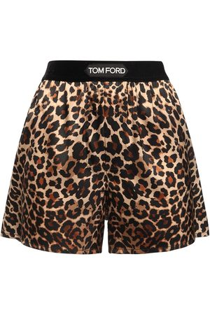 Tom Ford Damen Shorts - Shorts Aus Seidensatin Mit Leopardendruck