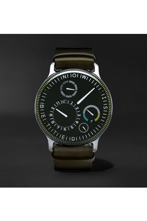Ressence Herren Uhren - Type 3X Limited Edition Automatic 44mm Titanium and Leather Watch