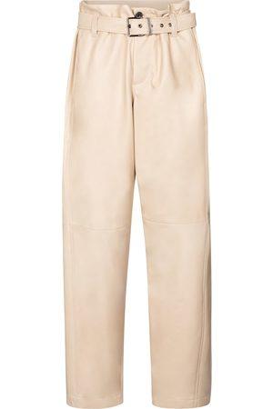 Brunello Cucinelli High-Rise-Lederhoe mit weitem Bein