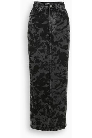 Balenciaga Grey leaves print skirt