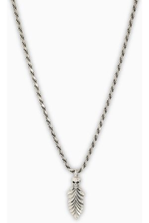 EMANUELE BICOCCHI Silver skull and feather necklace