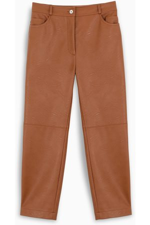 Stella McCartney Brown eco leather cropped trousers