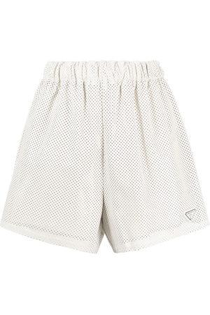Prada High-waisted logo-plaque shorts