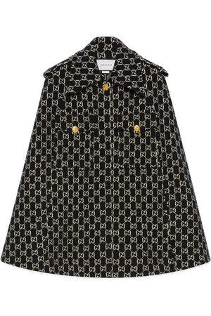 Gucci Damen Mäntel - Cape aus gefilzter Wolle mit GG Jacquard