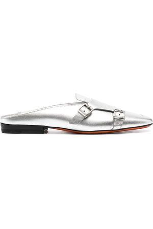 santoni Damen Clogs & Pantoletten - Metallic leather mules