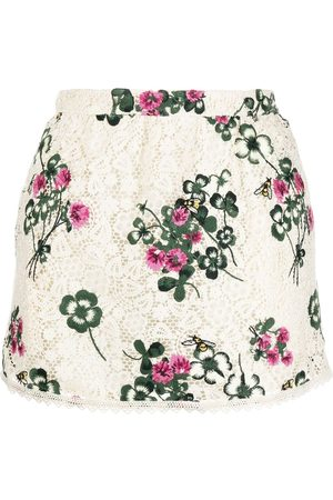 RED Valentino Damen Culotten - Embroidered floral skorts - Nude