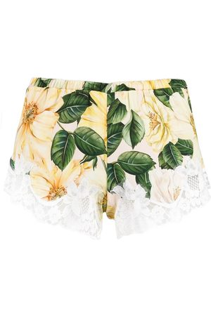 Dolce & Gabbana Camellia-print lace detail shorts - Nude