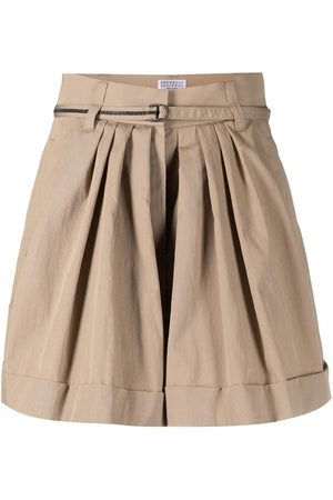 Brunello Cucinelli Ausgestellte Shorts mit Falten - Nude