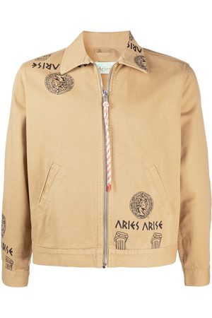 ARIES Temple print zipped denim jacket - Nude