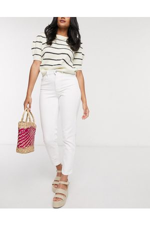Vero Moda – Weiße Mom-Jeans mit hohem Taillenbund
