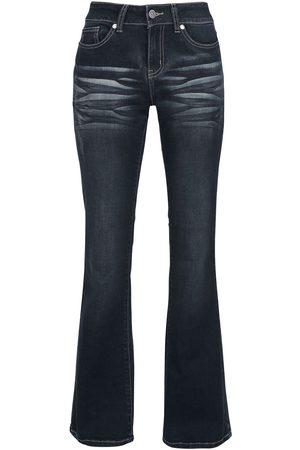 Black Premium by EMP Grace - Dunkelblaue Jeans mit Waschung und Schlag Girl-Jeans dunkelblau