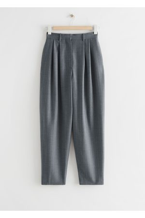 & OTHER STORIES Tailored Tapered Pinstripe Wool Trousers - Grey