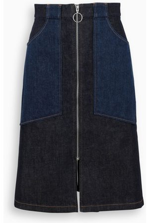A.P.C. Denim long skirt with zip and pockets detail