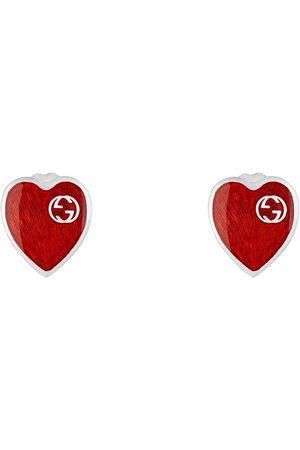 Gucci Damen Uhren - Ohrringe mit Email-Herz und GG Schriftzug