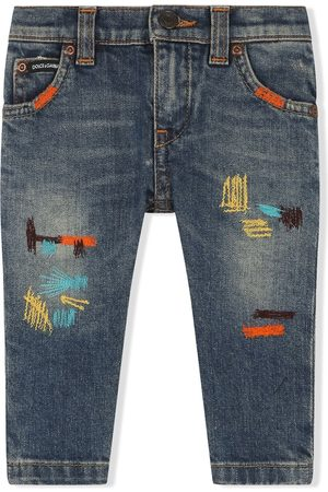 Dolce & Gabbana Embroidered straight-leg jeans