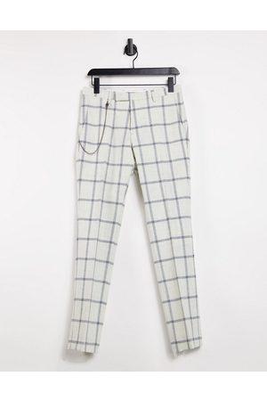 Twisted Tailor – Enge Hose in mit Kette und großem Karomuster