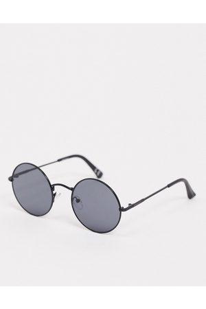 ASOS – Runde Sonnenbrille in Mattschwarz mit schwarzen Gläsern