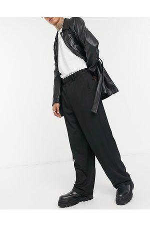 ASOS – Schwarze, elegante Hose mit weitem Beinschnitt