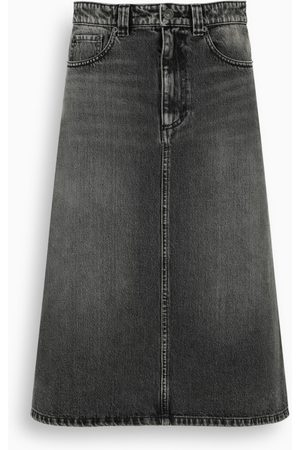 Balenciaga Black faded denim midi skirt