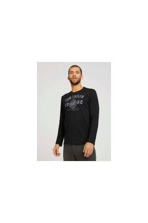 TOM TAILOR Herren Longsleeves - Langarmshirt mit Print, Herren, Frost Ash, Größe: S