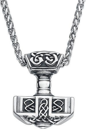 URBANTIMBER Herren Halsketten - Thors Hammer mit Keltischen Knoten Halskette silberfarben