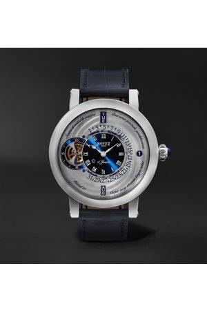 BOVET Herren Uhren - Récital 21 Limited Edition Hand-Wound Perpetual Calendar 44.4mm Titanium and Croc-Effect Leather Watch, Ref. No. R210002