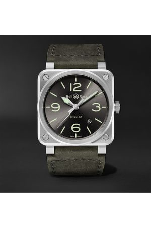 Bell & Ross Herren Uhren - BR 03-92 Grey Lum Automatic 42mm Stainless Steel and Leather Watch, Ref. No. BR0392-GC3-ST/SCA