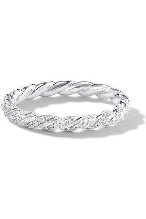 David Yurman 2.7mm 18kt white gold petite Paveflex diamond ring