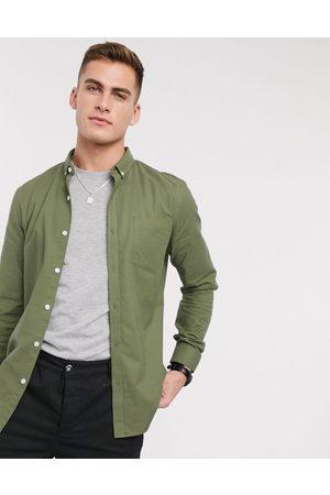New Look – Langärmliges Oxford-Hemd aus Bio-Baumwolle in Khaki