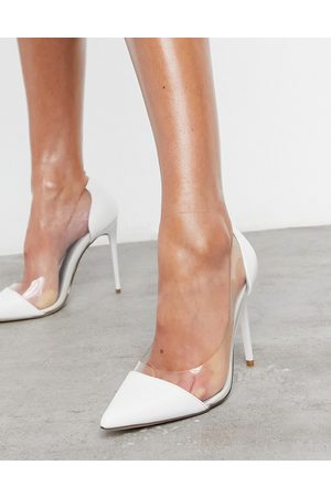 Truffle Collection – Bridal –Transparente Schuhe in Weiß mit Stiletto-Absatz