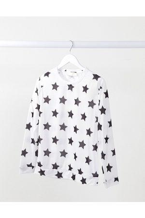 Outrageous Fortune – Weißer Schlafanzug-Pullover mit Sternen-Print-Mehrfarbig