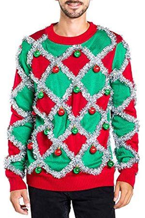 Tipsy Elves Herren Ornament und Girlande Ugly Christmas Sweater - Grün und Funny Tacky Lametta Christmas Sweater - - X-Groß