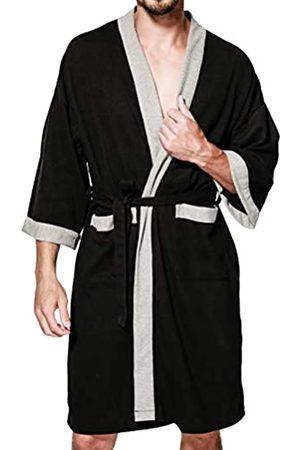 Lavnis Herren leichter Kimono Robe Casual Baumwolle Bademantel Nachthemd Langarm Waffel Weave Nachtwäsche - - Medium