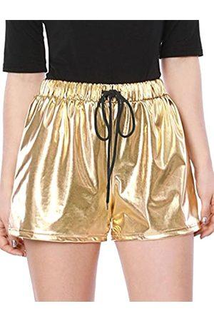 Allegra K Allegra K Damen High Waist Drawstring Metallic Kurze Hose Shorts L