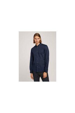 TOM TAILOR Leichtes Hemd mit Muster, Herren, Blue Minimal Aop, Größe: M