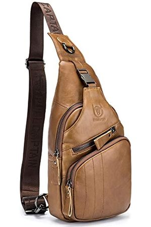BULLCAPTAIN Leder Herren Sling Bag Casual Crossbody Brusttaschen Reise Daypack