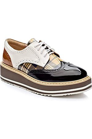 Cetula Handgefertigte Schnürschuhe mit Hahnentrittmuster für vier Jahreszeiten, Oxford-Schuhe für Damen, (Black Plaid)