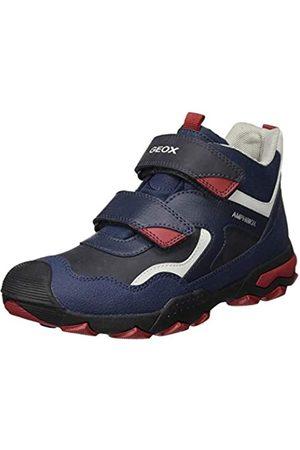 Geox J BULLER Boy B ABX B Rain Shoe, (Navy/Dk Red)