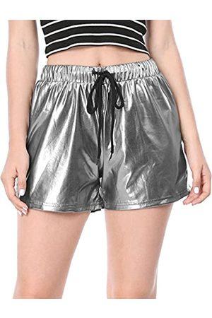 Allegra K Allegra K Damen High Waist Drawstring Metallic Kurze Hose Shorts M