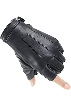Long Keeper Herren Halbfinger Lederhandschuhe Winter Fahren Fingerlos Handschuhe mit Samt - - Large
