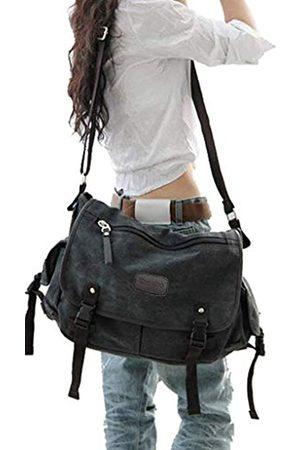 Taoqiao Vintage Canvas Messenger Bag Groß Buch Laptop Schultertasche Schultasche Damen Herren Neu