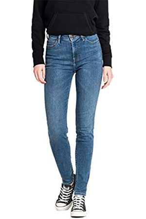 Lee Damen Jeans Jeanshose Stretch Scarlett High Skinny Fit - Blau - Mid Copa, Größe:W 25 L 29