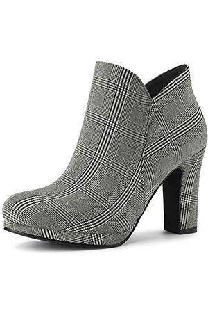 Allegra K Damen Stiefel mit rundem Zehenbereich, klobiger Absatz, knöchelhoch, (schwarz / weiß)