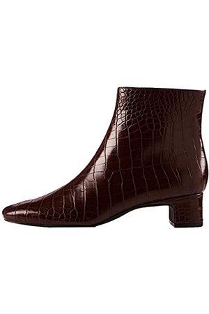 FIND Block Heel Square Toe Stiefeletten, Brown Croco)