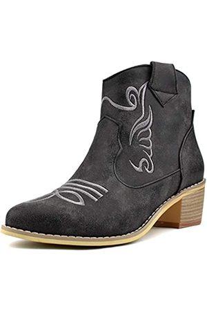 100FIXEO Damen Cowboystiefel, mittelhoher Absatz, Reißverschluss