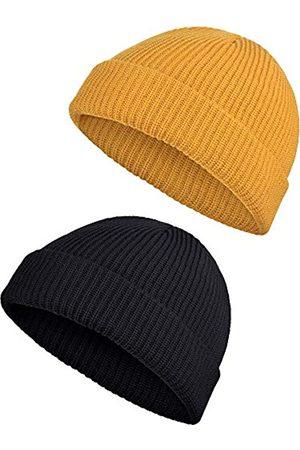 SATINIOR 2 Stücke Winter Warme Mütze Hut Strickmanschette Beanie Hüte für Männer Tägliches Tragen (Schwarz